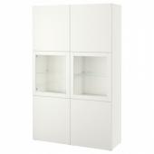 БЕСТО Комбинация д/хранения+стекл дверц, Лаппвикен, Синдвик белый прозрачное стекло, 120x40x192 см
