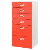 СТУВА / ФРИТИДС Комод с 6 ящиками, белый, красный, 60x50x128 см