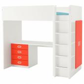 СТУВА / ФРИТИДС Кровать-чердак/4 ящика/2 дверцы, белый, красный, 207x99x182 см