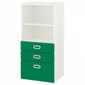 СТУВА / ФРИТИДС Стеллаж с ящиками, белый, зеленый, 60x50x128 см