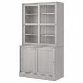 ХАВСТА Комбинация с раздвижными дверьми, серый, 121x47x212 см