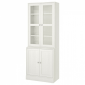 ХАВСТА Комбинация для хранения с сткл двр, белый, 81x47x212 см
