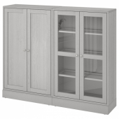 ХАВСТА Комбинация для хранения с сткл двр, серый, 162x37x134 см