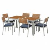 ШЭЛЛАНД Стол+6 кресел,д/сада, светло-коричневый, ФРЁСЁН/ДУВХОЛЬМЕН синий, 156x90 см