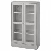 ХАВСТА Шкаф-витрина с цоколем, серый, прозрачное стекло, 81x37x134 см