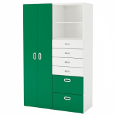 СТУВА / ФРИТИДС Шкаф платяной, белый, зеленый, 120x50x192 см