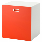 СТУВА / ФРИТИДС Модуль для игрушек, на колесиках, белый, красный, 60x50x64 см