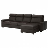 ЛИДГУЛЬТ 4-местный диван, с козеткой, Гранн/Бумстад темно-коричневый
