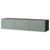 БЕСТО Тумба под ТВ, с дверцами, черно-коричневый, Нотвикен серо-зеленый, 180x42x38 см