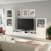 БЕСТО Шкаф для ТВ, комбин/стеклян дверцы, белый, Лаппвикен белый прозрачное стекло, 300x42x193 см