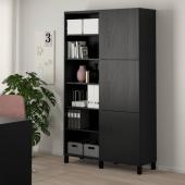 БЕСТО Комбинация для хранения с дверцами, черно-коричневый, Лаппвик/стуббарп черно-коричневый, 120x42x202 см