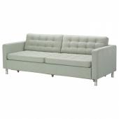 ЛАНДСКРУНА 3-местный диван-кровать, Гуннаред светло-зеленый/металл