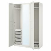 ПАКС / ТИССЕДАЛЬ Гардероб, комбинация, белый, зеркальное стекло, 150x60x236 см