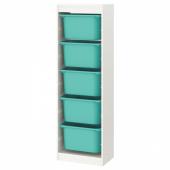ТРУФАСТ Комбинация д/хранения+контейнеры, белый, бирюзовый, 46x30x145 см