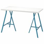 ЛИННМОН / ЛЕРБЕРГ Стол, белый, синий, 120x60 см
