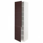 МЕТОД Высокий шкаф с полками/2 дверцы, белый Аскерсунд, темно-коричневый под ясень, 60x60x220 см