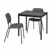 ВАНГСТА / КАРЛ-ЯН Стол и 2 стула, черный темно-коричневый, Кабуса темно-серый, 80/120 см