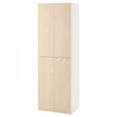 СМОСТАД / ОПХУС Гардероб, белый береза, с 2 платяными штангами, 60x40x180 см