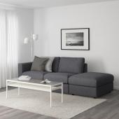 ВИМЛЕ 3-местный диван, с открытым торцом, Гуннаред классический серый