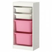 ТРУФАСТ Комбинация д/хранения+контейнеры, белый, белый розовый, 46x30x94 см
