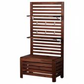 ЭПЛАРО Садовая скамья+панель/полки, коричневая морилка, 80x44x158 см