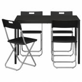 ТЭРЕНДО / ГУНДЕ Стол и 4 стула, черный, 110 см