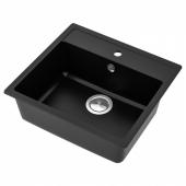 ХЭЛЛВИКЕН Одинарная врезная мойка, черный, кварцевый композит, 56x50 см