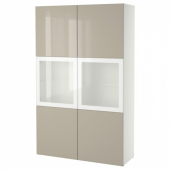 БЕСТО Комбинация д/хранения+стекл дверц, белый, Сельсвикен глянцевый/бежевый матовое стекло, 120x40x192 см