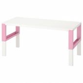 ПОЛЬ Письменный стол, белый, розовый, 128x58 см