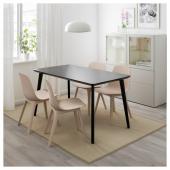 ЛИСАБО / ОДГЕР Стол и 4 стула, черный, бежевый, 140x78 см