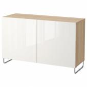 БЕСТО Комбинация для хранения с дверцами, под беленый дуб, СЕЛЬВИКЕН/СУЛАРП глянцевый/белый, 120x40x74 см