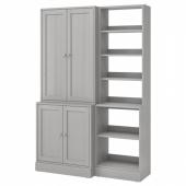 ХАВСТА Комбинация д/хранения, серый, 142x47x212 см