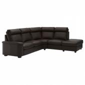 ЛИДГУЛЬТ 5-местный угловой диван, с открытым торцом, Гранн/Бумстад темно-коричневый