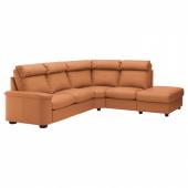 ЛИДГУЛЬТ 5-местный угловой диван, с открытым торцом, Гранн/Бумстад золотисто-коричневый