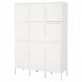 ХЭЛЛАН Комбинация для хранения с дверцами, белый, 135x47x192 см