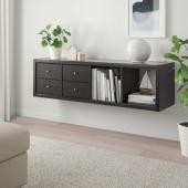 КАЛЛАКС Стеллаж с 2 вставками, черно-коричневый, 42x147 см