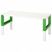 ПОЛЬ Письменный стол, белый, зеленый, 128x58 см
