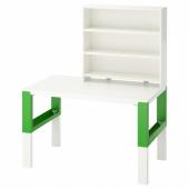 ПОЛЬ Письменн стол с полками, белый, зеленый, 96x58 см
