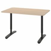 БЕКАНТ Письменный стол, дубовый шпон, беленый, черный, 120x80 см