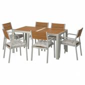 ШЭЛЛАНД Стол+6 кресел,д/сада, светло-коричневый, Куддарна серый, 156x90 см