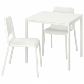 МЕЛЬТОРП / ТЕОДОРЕС Стол и 2 стула, белый, белый, 75x75 см
