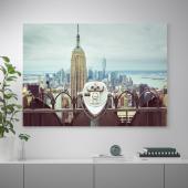 БЬЁРКСТА Картина с рамой, Смотровая площадка, цвет алюминия, 140x100 см