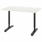 БЕКАНТ Письменный стол, белый, черный, 120x80 см