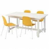 НОРДВИКЕН / ЛЕЙФ-АРНЕ Стол и 4 стула, белый, Брур-Инге белый, 152/223x95 см