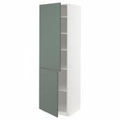 МЕТОД Высокий шкаф с полками/2 дверцы, белый, Бодарп серо-зеленый, 60x60x200 см