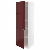 МЕТОД Высокий шкаф с полками/2 дверцы, белый Калларп, глянцевый темный красно-коричневый, 60x60x200 см