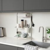 СУННЕРСТА Комплект кухонных аксессуаров, без сверления, сушилка/полка/держатель/контейнер