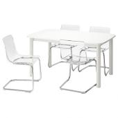 СТРАНДТОРП / ТОБИАС Стол и 4 стула, белый, прозрачный, 150/205/260x95 см