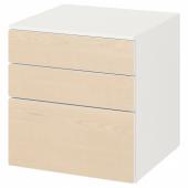 СМОСТАД / ОПХУС Комод с 3 ящиками, белый, береза, 60x55x63 см