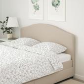 ХАУГА Кровать с обивкой,4 кроватных ящика, Лофаллет бежевый, 140x200 см